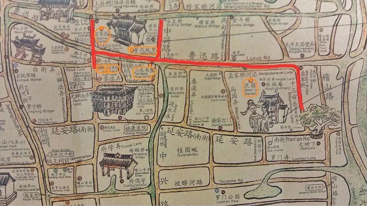 绍兴古城手绘地图