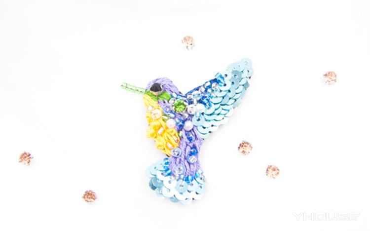 法式奢华高定刺绣课程体验 蜂鸟胸针&项链